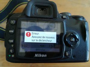 Erreur déclenchement Nikon boitier