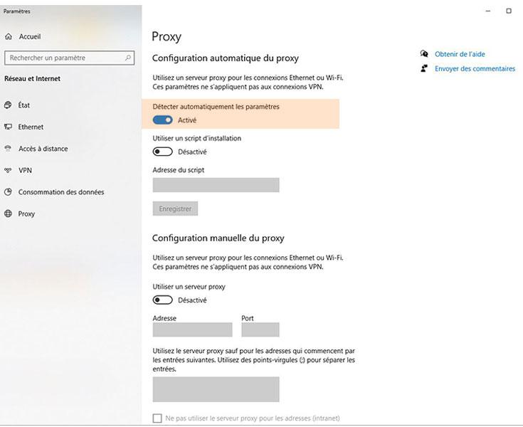 Configurer proxy ordinateur portable