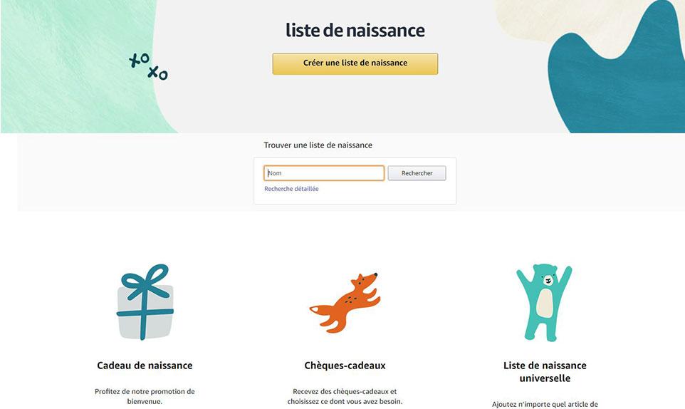 créer une liste de naissance sur Amazon